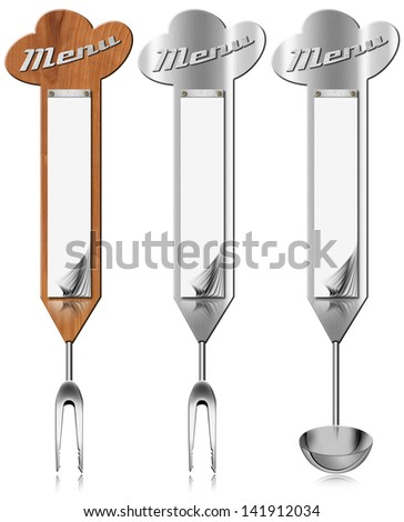 Metal and Wood Banners Menu / Three Wooden and metallic vertical menu with blank pages and kitchen utensils - stock photo