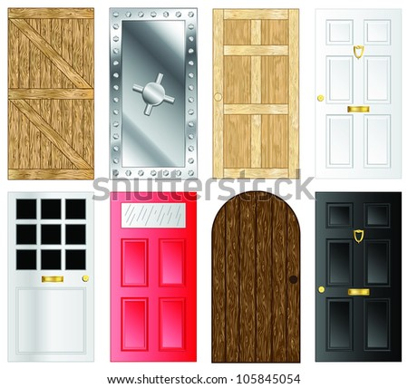 Metal and wooden door and gate illustrations