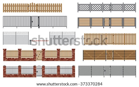 Metal and wooden fences and gates in flat style. Raster version. - stock photo