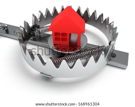 Metal animal trap open with red home. Isolated. 3D render. Mantrap, real estate, danger, risk, credit concept - stock photo