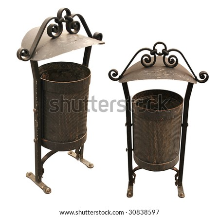 Metal Antique Trash Bin