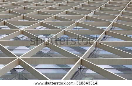 Metal architectural curtain wall framework pattern. - stock photo