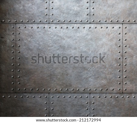 metal armor plates background - stock photo