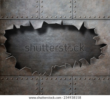 metal armor with torn hole steam punk background - stock photo