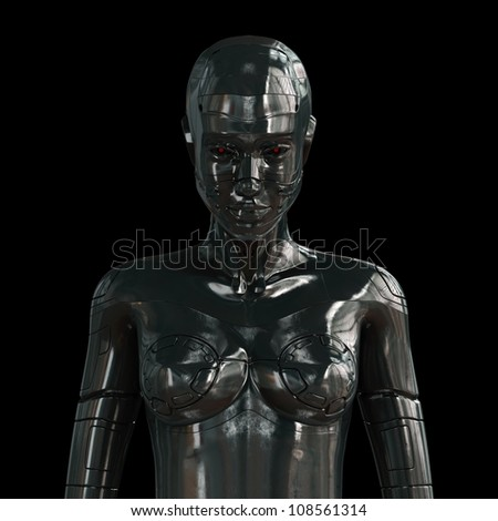 Metal artificial girl on black - stock photo