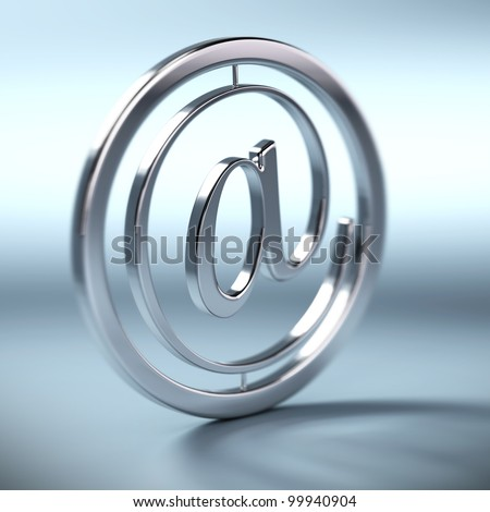 metal at symbol inside a circle, blue background, square image blur effect - stock photo