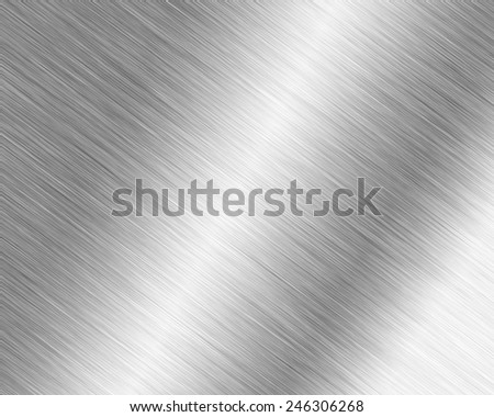 Metal background or texture of brushed steel plate with reflections and shine - stock photo