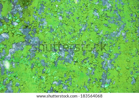 metal background painted with green paint - stock photo