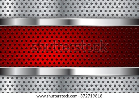 Metal background. Red perforated steel plate with chrome frame.  Illustration. Raster version. - stock photo