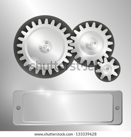 Metal background with pinions and metal frame for text. Raster version of the loaded vector. - stock photo