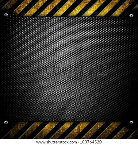 metal background with warning pattern - stock photo