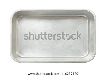 Metal baking pan isolated on white background - stock photo