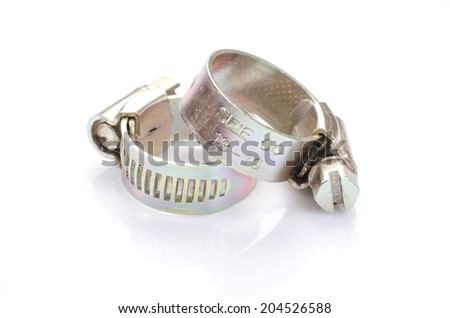 Metal band hose clamp isolated on white
