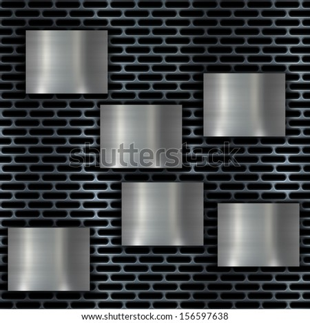 metal banner on grill background - stock photo