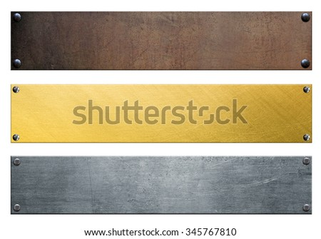Metal banners with rivets isolated on white background