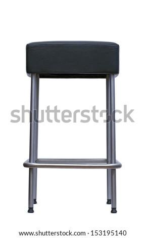 metal bar stool over white - stock photo