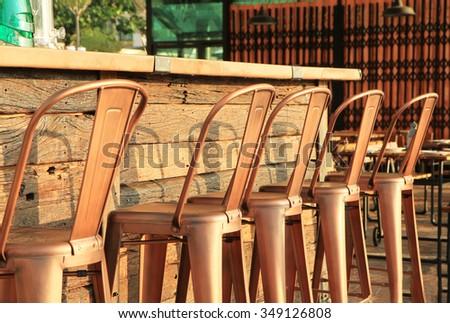 Metal bar stools  - stock photo