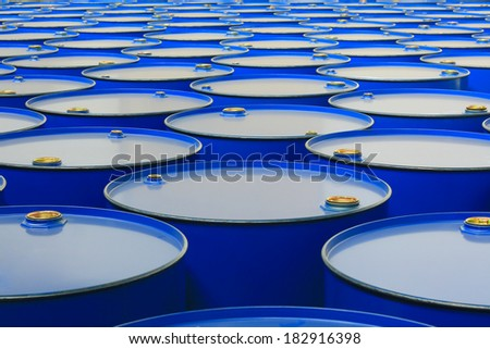 metal barrels of blue color - stock photo
