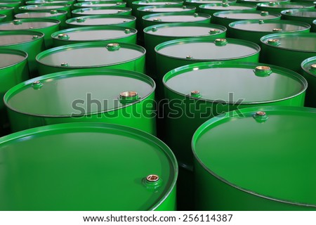 metal barrels of green color