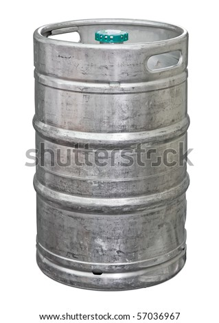 Metal beer keg isolated. Clipping path included - stock photo