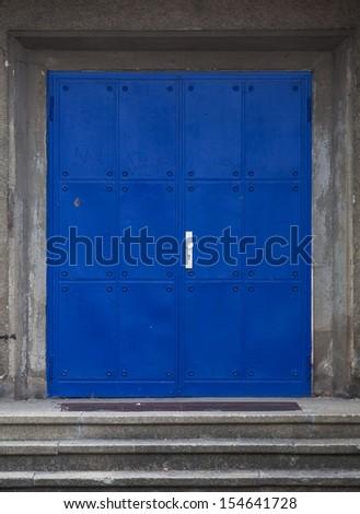 metal blue  door - stock photo