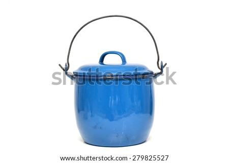Metal blue enamelled saucepan, isolated on white background