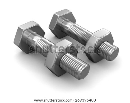 Metal bolts (clipping path included)