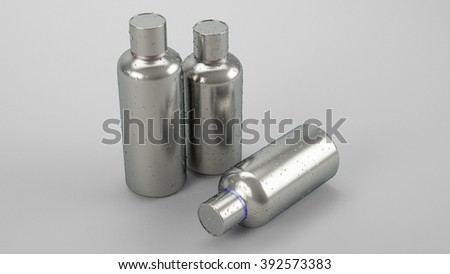 Metal bottle on white background