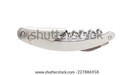 Metal bottle-screw corkscrew isolated over the white background - stock photo