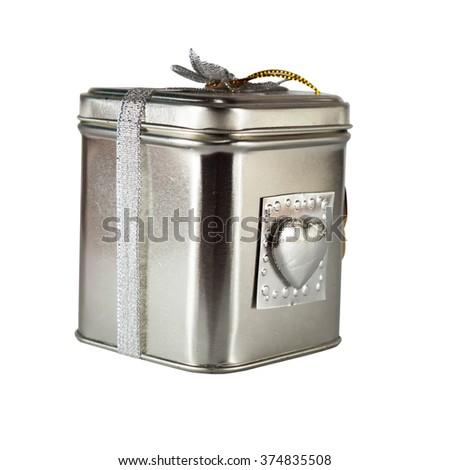 metal box gift with white background - stock photo