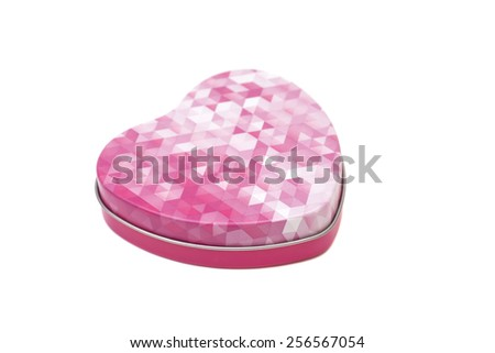 Metal box in shape of  heart isolated - stock photo