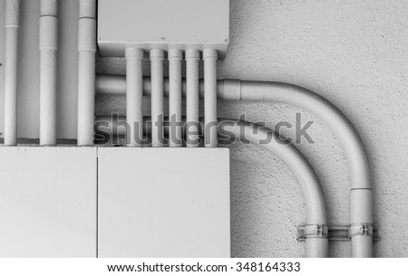 Metal box of Network electric cable at building wall