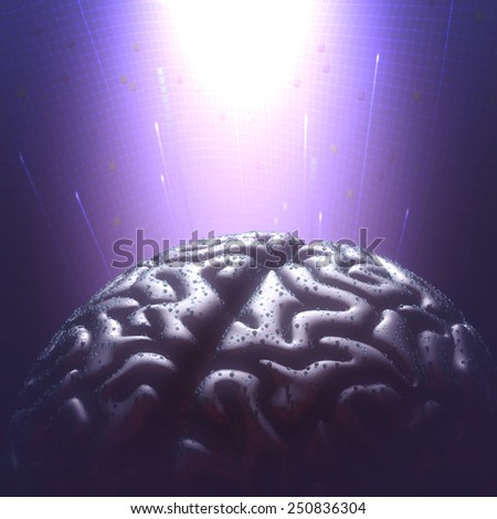 Metal brain with rain droplets in a dark environment. Copy space and clipping path included. - stock photo