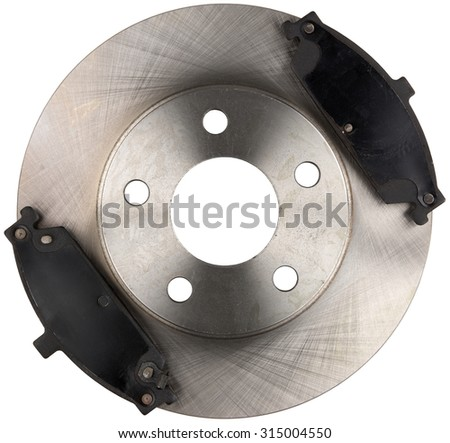 Metal Brake Disc Rotor with Two Brake Pads Isolated