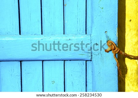 metal    brown    morocco in    africa the old wood  facade home and rusty safe padlock  - stock photo