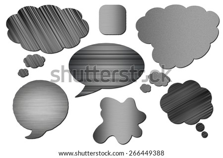 Metal bubbles for speech on white background. Abstract design. Set of metal Speech Bubbles isolated - stock photo