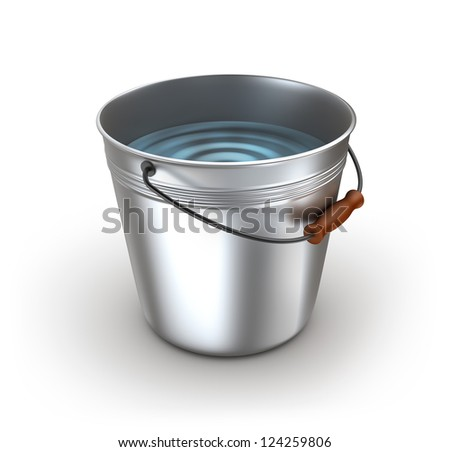 metal bucket full water isolated on stock illustration 124259806