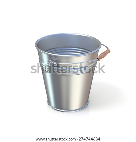 Metal bucket isolated on a white background. 3D render illustration isolated on white background - stock photo