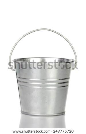 metal bucket isolated on white background. - stock photo