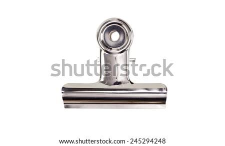 Metal bulldog clip isolate on white - stock photo