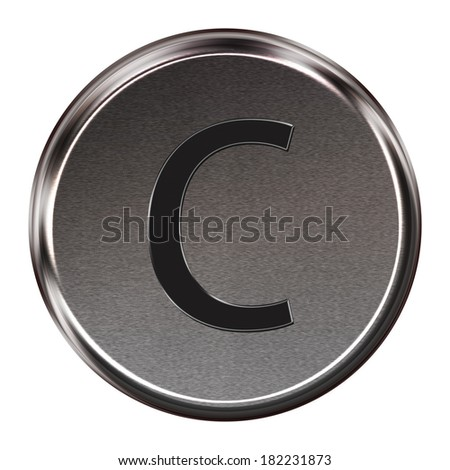 "Metal button black alphabet letter ""C""  isolated on white background"