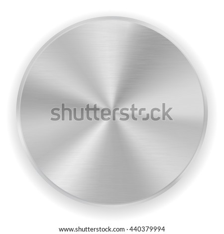 Metal button, brushed texture. Illustration isolated on white background. Raster version