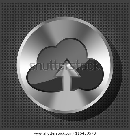 metal button (knob)  with cloud icon and arrow - stock photo
