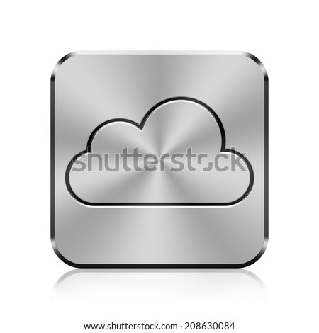 Metal button with cloud icon - stock photo
