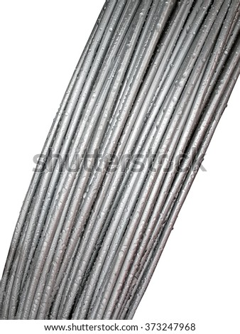 metal cable bulk with water drops heap isolated on white background