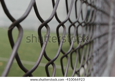 Metal cage in Soccer filed (Football cage) ,Close up
