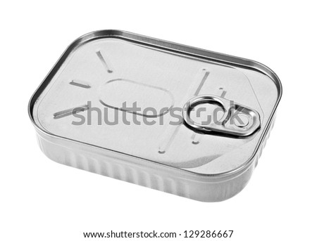 Metal can closeup isolated on white