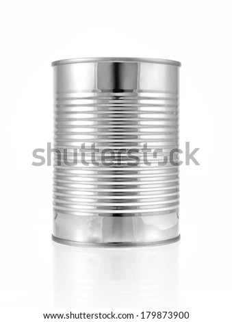 Metal can for preserved food on white background, clipping path inside. - stock photo