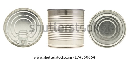 Metal can isolated over white background, set of three foreshortenings, top, bottom and side views - stock photo