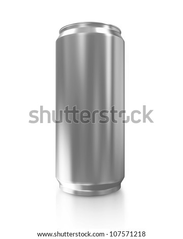Metal Can of Beer isolated on white background - stock photo